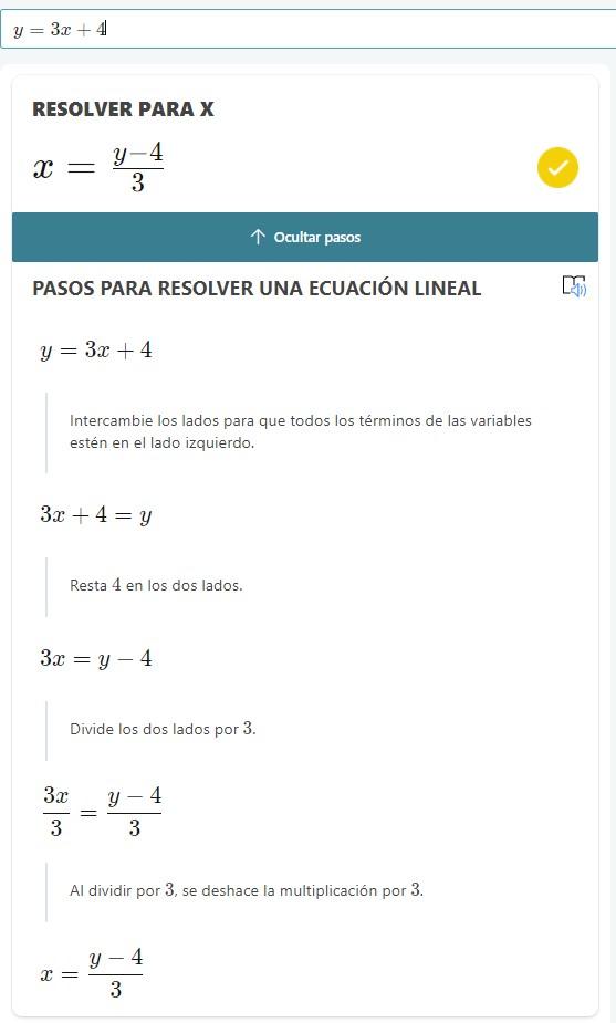 Math Solver ejemplo